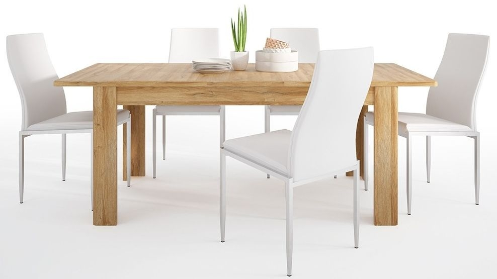 Cortina Grandson Oak Extending Dining Table and 4 Milan White Chairs