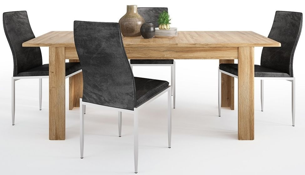 Cortina Grandson Oak Extending Dining Table and 6 Milan Black Chairs