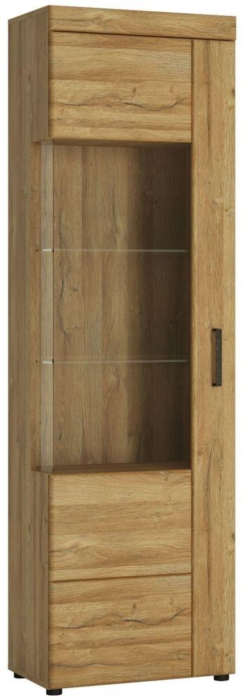 Cortina Grandson Oak Tall Left Hand Facing Glazed Display Cabinet