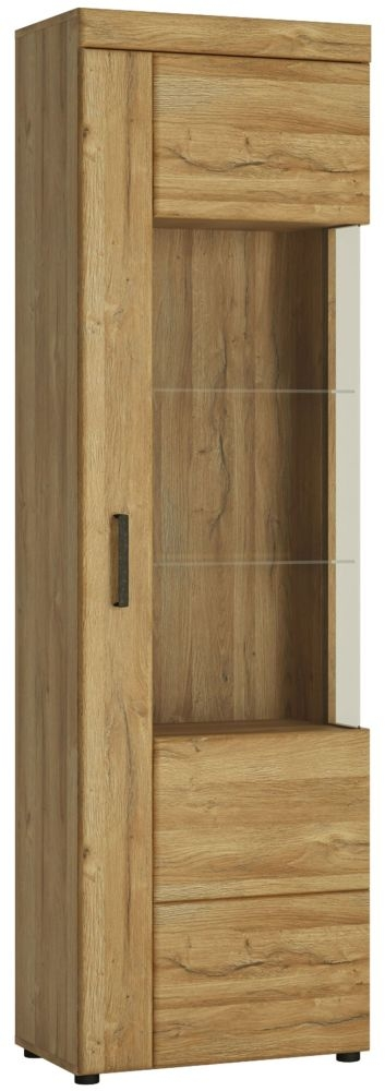 Cortina Grandson Oak Tall Right Hand Facing Glazed Display Cabinet