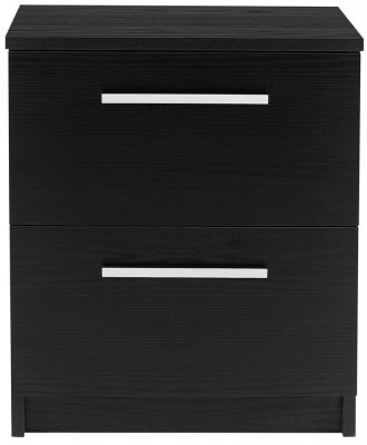 Designa Black Ash Bedside Cabinet - 2 Drawer