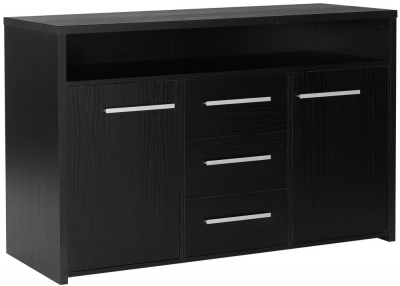 Designa Black Ash Sideboard - 2 Door 3 Drawer