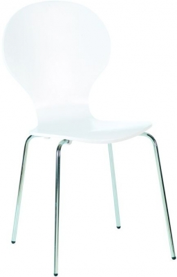 Designa White Dining Chair with Chrome Legs (Set of 4)