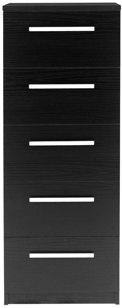 Designa Black Ash Chest of Drawers - 5 Narrow Drawer