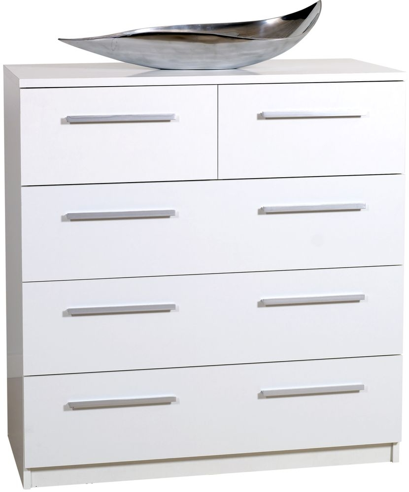 Designa White Chest of Drawers - 2+3 Drawer