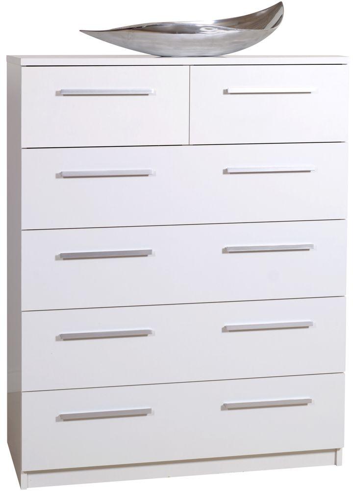 Designa White Chest of Drawers - 2+4 Drawer