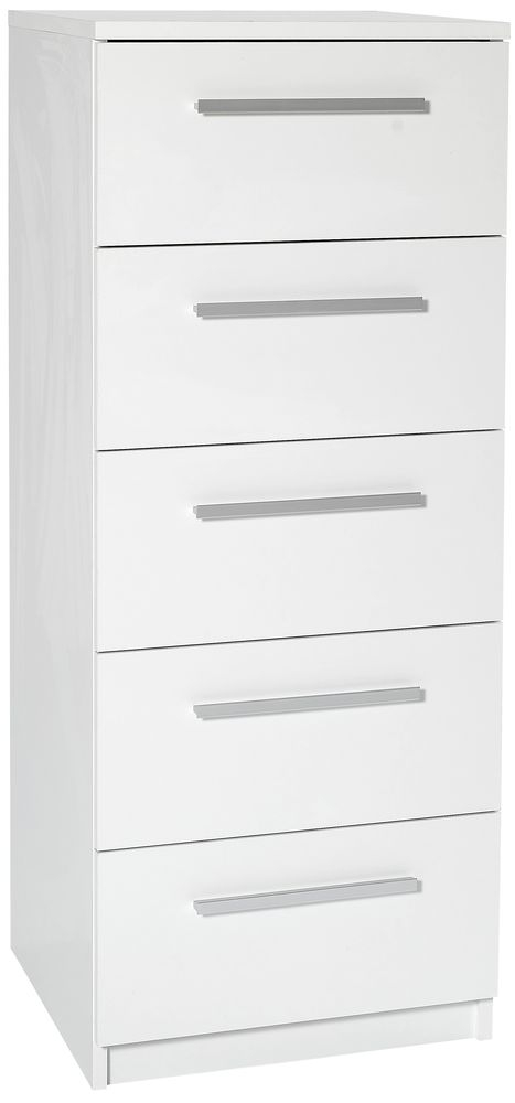 Designa White Chest of Drawers - 5 Narrow Drawer