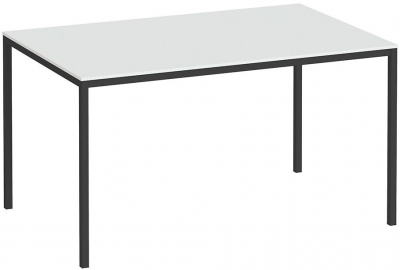 Family White and Black 140cm Dining Table