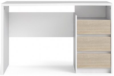 Function Plus White and Oak 3 Drawer Desk