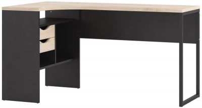 Function Plus Corner Desk - Black Matt and Oak