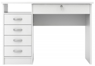 Function Plus 5 Drawer Desk - White