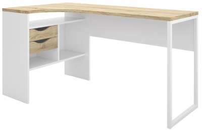 Function Plus Corner Desk - White and Oak