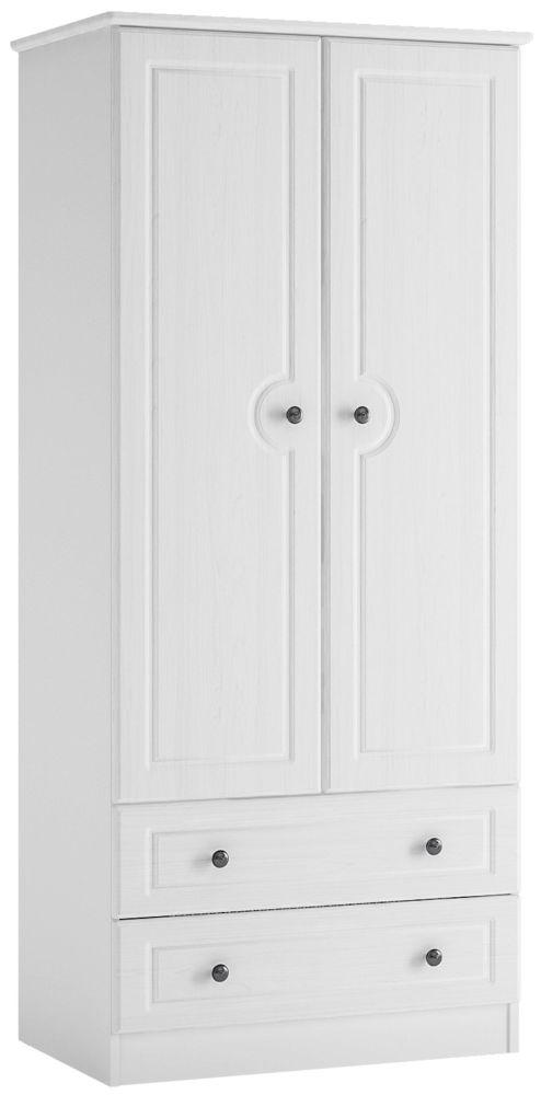 Hampshire 2 Door Combi Wardrobe - White Textured and Melamine