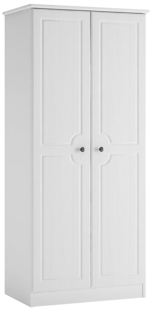 Hampshire 2 Door Wardrobe - White Textured and Melamine