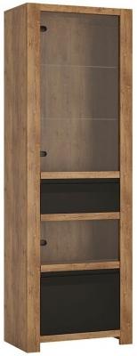 Havana Tall Display Cabinet - Oak and Black
