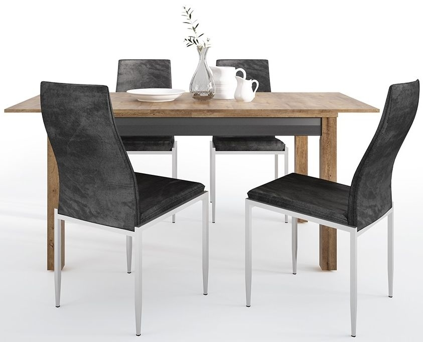 Havana Extending Dining Table and 4 Milan Black Chairs - Oak and Black