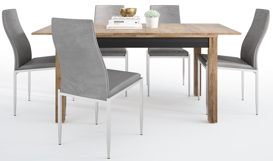 Havana Extending Dining Table and 4 Milan Grey Chairs - Oak and Black