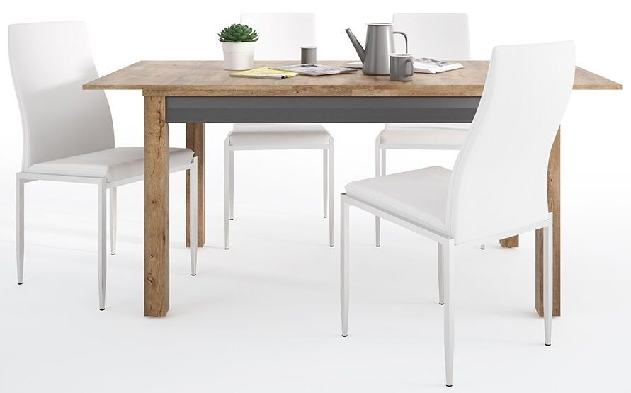 Havana Extending Dining Table and 4 Milan White Chairs - Oak and Black