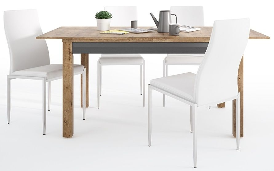 Havana Extending Dining Table and 6 Milan White Chairs - Oak and Black