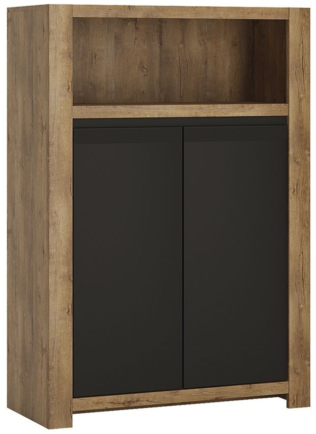 Havana Oak and Matt Black Cupboard - 2 Door with Open Shelf