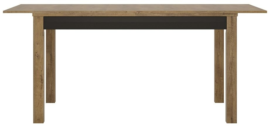 Havana Oak and Matt Black Dining Table - Extending