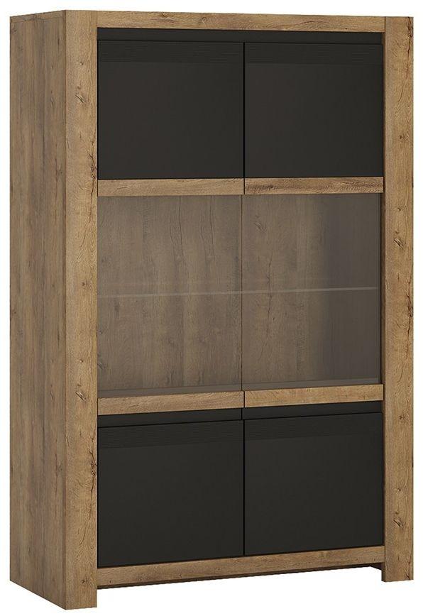 Havana Oak and Matt Black Display Cabinet - 2 Door