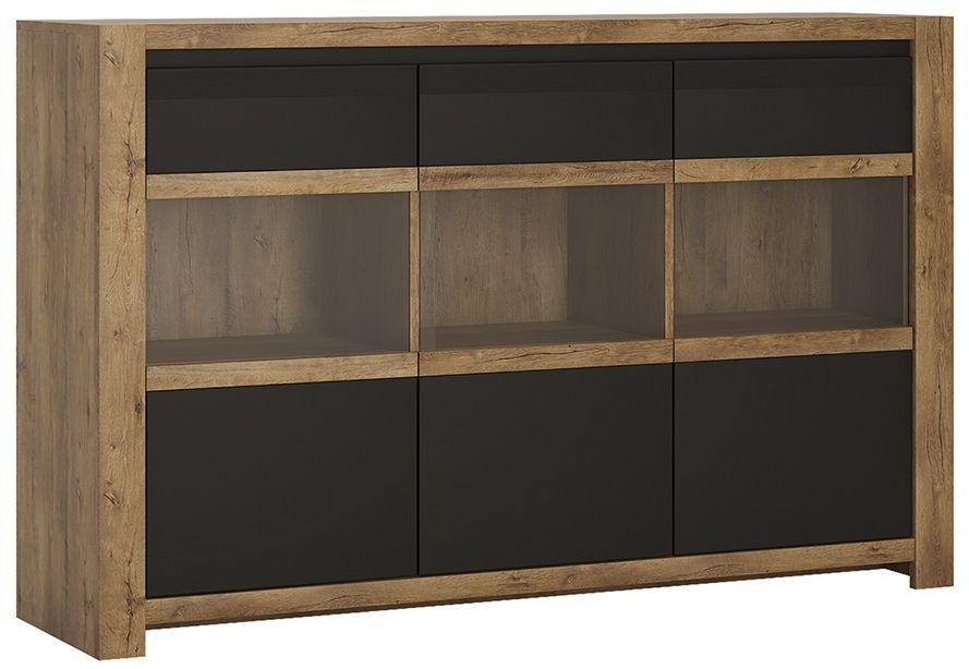 Havana Oak and Matt Black Sideboard - 3 Door