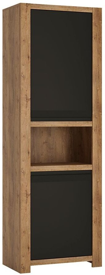 Havana Tall Cupboard - Oak and Black