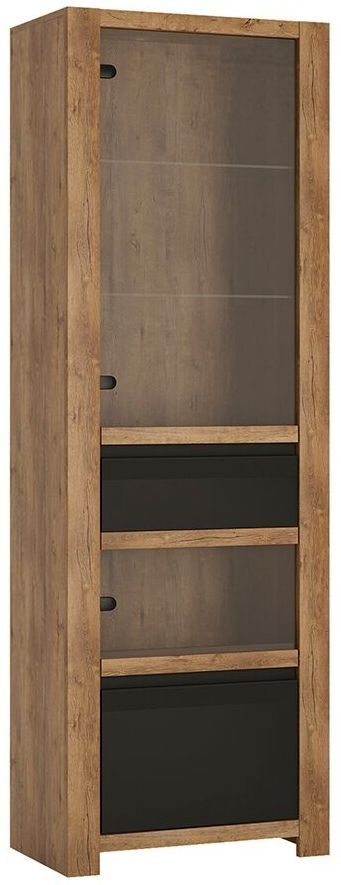 Havana Tall Display Cabinet - Oak and Black