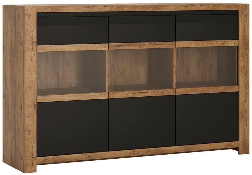 Havana Tall Sideboard - Oak and Black