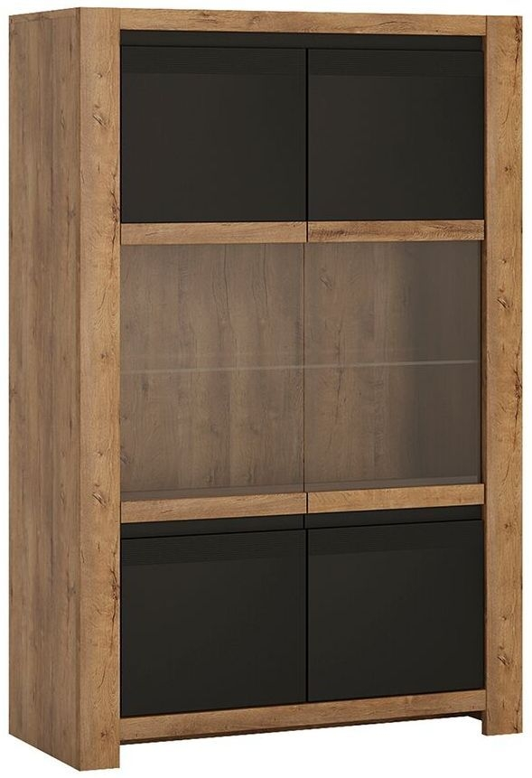 Havana Wide Display Cabinet - Oak and Black