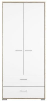 Homeline 2 Door Wardrobe - Oak and White High Gloss
