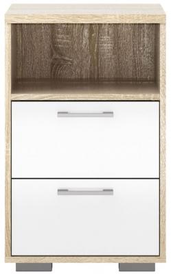 Homeline 2 Drawer Bedside Cabinet - Oak and White High Gloss