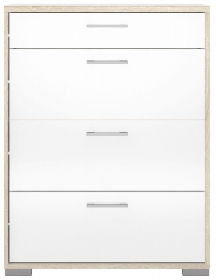 Homeline 4 Drawer Chest - Oak and White High Gloss
