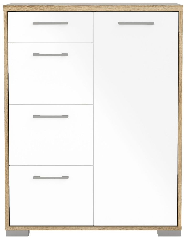Homeline 1 Door Combi Sideboard - Oak and White High Gloss