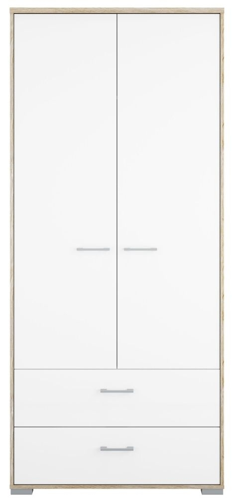 Homeline 2 Door Wardrobe - Oak and White High Gloss
