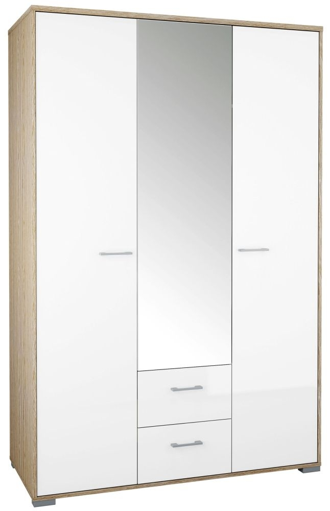 Homeline 3 Door Wardrobe - Oak and White High Gloss