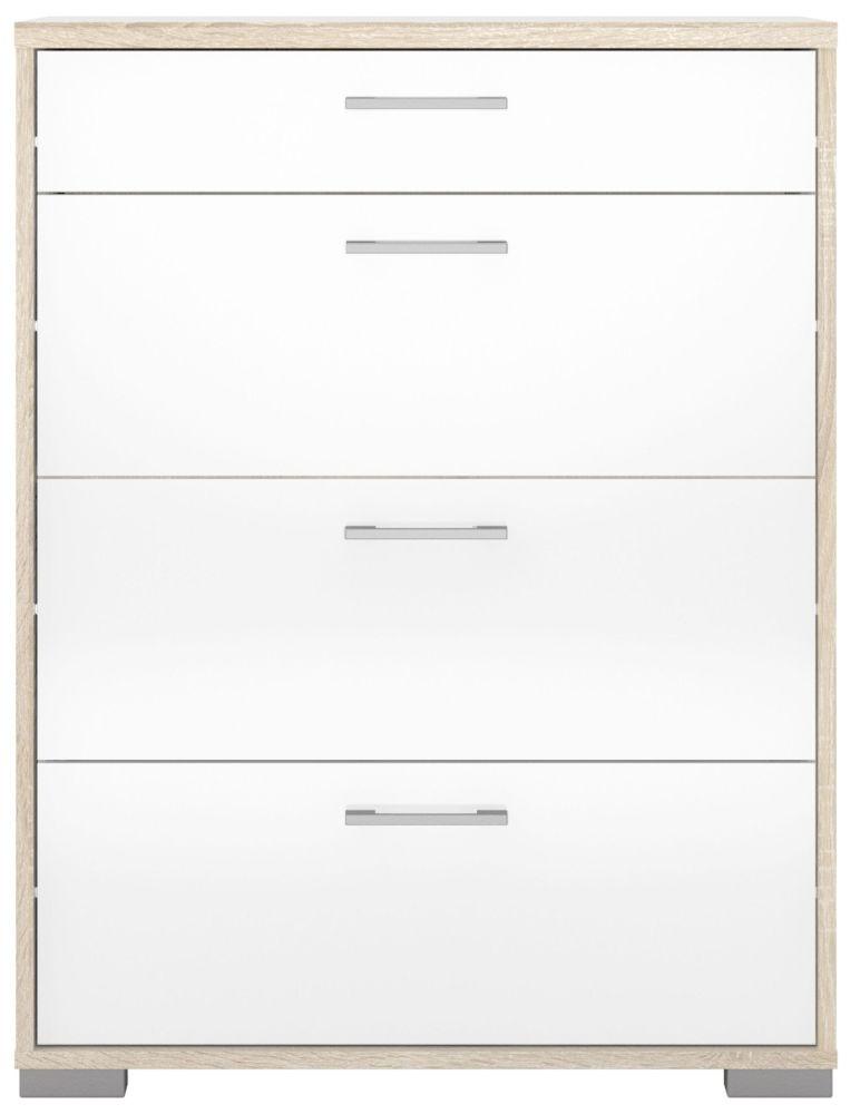 Homeline 4 Drawer Chest - Oak and White High Gloss