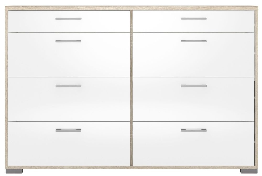 Homeline 8 Drawer Wide Chest - Oak and White High Gloss
