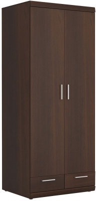 Imperial Dark Mahogany Melamine Cabinet - Tall Wide 2 Door 2 Drawer