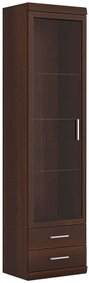 Imperial Tall Narrow Glazed Cabinet - Dark Mahogany Melamine