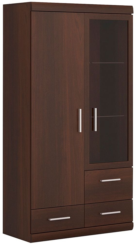 Imperial Glazed Display Cabinet - Dark Mahogany Melamine