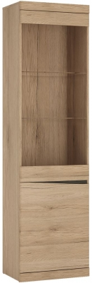 Kensington Oak Left Hand Facing Glazed Display Cabinet