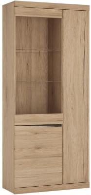Kensington Oak Tall Wide Glazed Display Cabinet