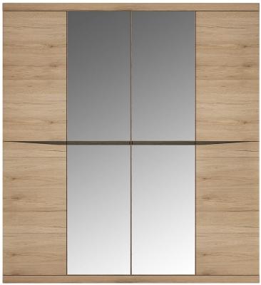 Kensington Oak 4 Door Mirror Wardrobe