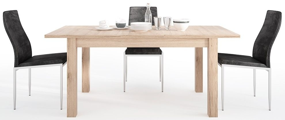 Kensington Oak Extending Dining Table and 4 Milan Black Chairs