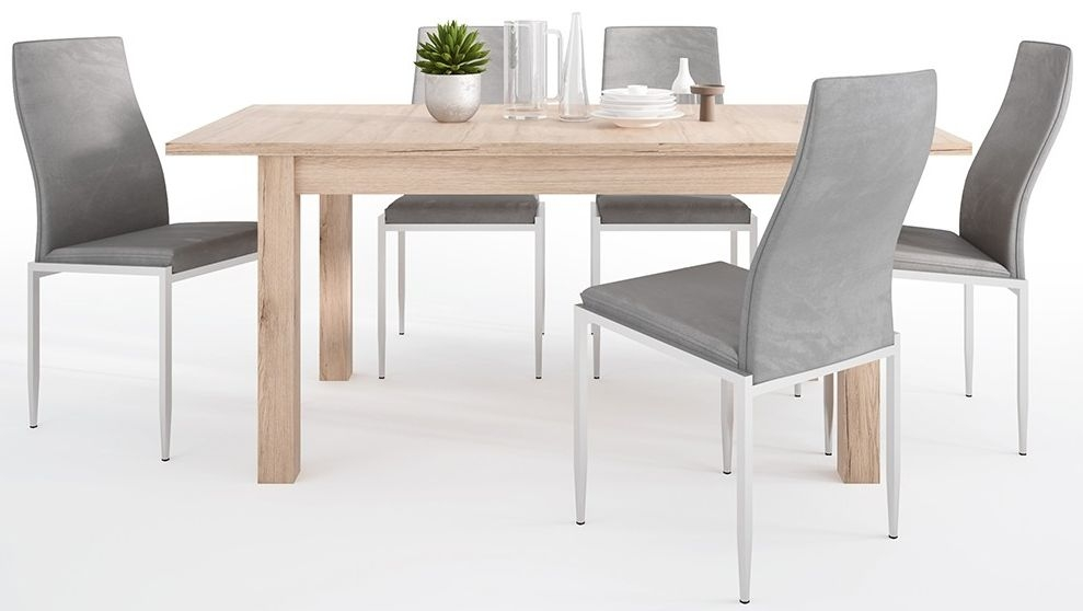 Kensington Oak Extending Dining Table and 4 Milan Grey Chairs