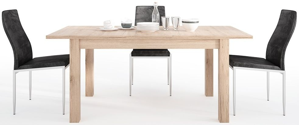 Kensington Oak Extending Dining Table and 6 Milan Black Chairs