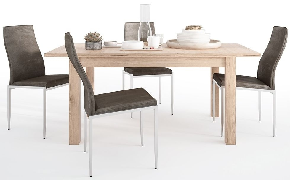 Kensington Oak Extending Dining Table and 6 Milan Dark Brown Chairs