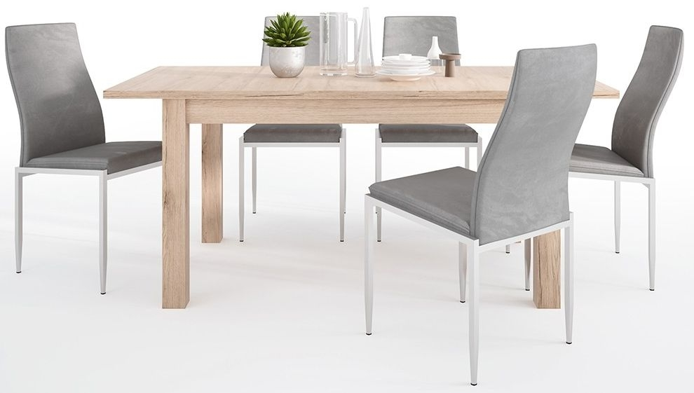 Kensington Oak Extending Dining Table and 6 Milan Grey Chairs